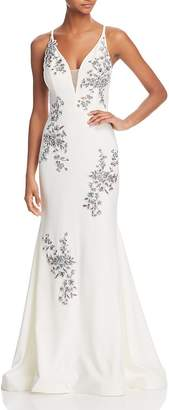 Aqua Avery Sleeveless Beaded Embroidered Gown