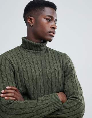 Asos DESIGN cable knit roll neck sweater in khaki