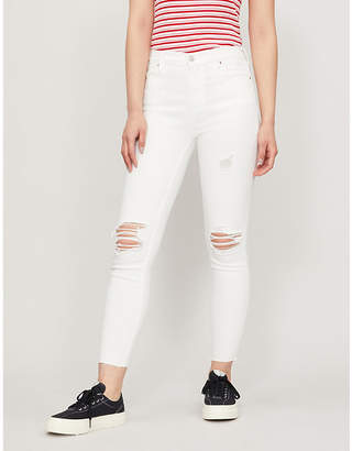 Selfridges Pacsun Egret ripped skinny high-rise jeans