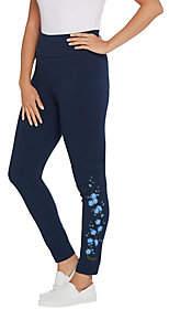 Denim & Co. Active Pull-On Floral EmbroideredAnkle Leggings