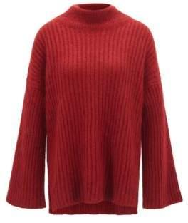 BOSS Hugo Funnel-neck sweater in an Italian wool L Dark Red