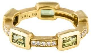 Elizabeth Showers 18K Peridot & Diamond Deco Puzzle Stack Ring