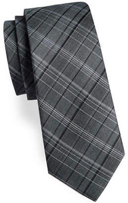 Calvin Klein Plaid Silk-Blend Tie