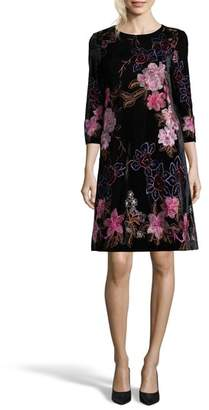 ECI Embroidered Velvet Shift Dress