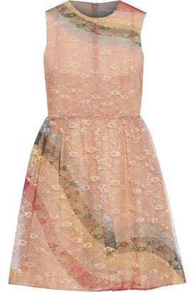 RED Valentino Striped Lace Mini Dress