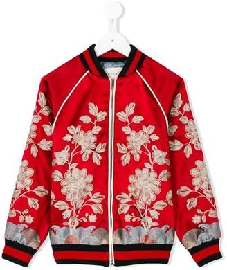 Gucci Kids floral embroidered bomber jacket