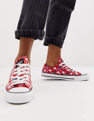 Converse x Hello Kitty Chuck Taylor Ox red all over print sneakers