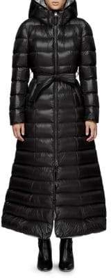 Mackage Long Quilted Tie-Waist A-Line Down Coat