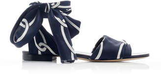 Monse Chain Print Ankle Wrap Flat Sandals