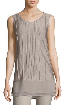 NIC+ZOE Textured Chiffon-Trim Tank, Light Beige $138 thestylecure.com