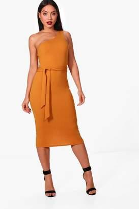 boohoo One Shoulder Bow Detail Midi Dress