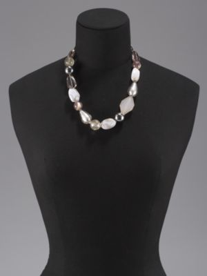 Bold Bead & Silvertone Necklace