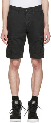 Stone Island Black Leg Patch Cargo Shorts $225 thestylecure.com