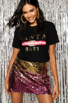boohoo Christmas Santa Baby Slogan T-Shirt