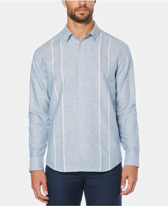 Cubavera Men Stripe Panel Long-Sleeve Linen Shirt
