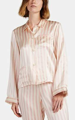 Morgan Lane Women's Ruthie Striped Silk Pajama Top - Light, Pastel pink
