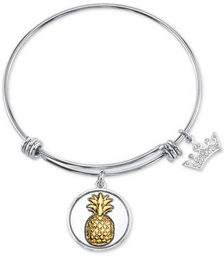 Unwritten Pineapple & Crown Charm Bangle Bracelet in Two-Tone Stainless Steel