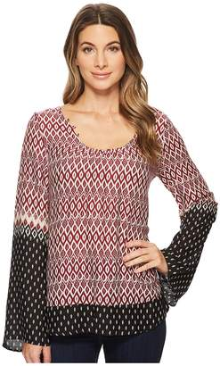 Stetson 1588 Border Print Rayon Blouse Women's Clothing