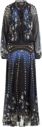 Roberto Cavalli Floor Length Printed Silk Chiffon Dress