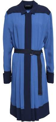 Piazza Sempione Belted Pleated Crepe Shirt Dress