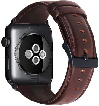 Juzzhou Watch Band For Apple Watch iWatch Series 3/2/1 Sport Edition Leather Replacement Wriststrap Bracelet Wrist Strap Guard Wristband Adapter Adjustable Clasp For Woman Girls Man Boy