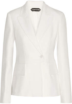 Double-breasted Wool-blend Twill Blazer - Ivory