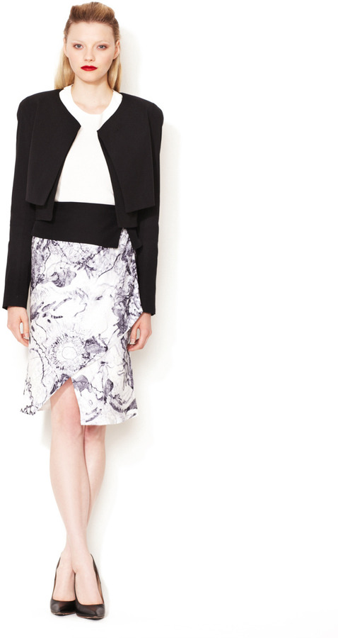 Narciso Rodriguez Printed Contrast Waist Panel Skirt