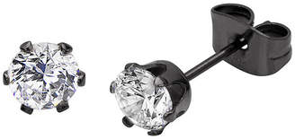 JCPenney FINE JEWELRY Cubic Zirconia 5mm Stainless Steel and Black IP Stud Earrings