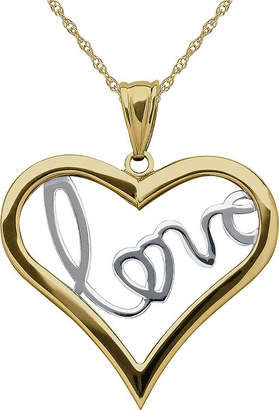 JCPenney FINE JEWELRY Infinite Gold 14K Two-Tone Gold Love Inside Heart Pendant Necklace