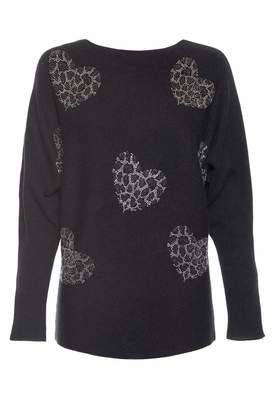 Quiz Black and Silver Diamante Heart Light Knit Batwing Jumper