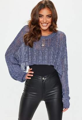 Missguided Blue Crop Sparkle Cable Sweater