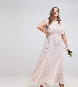 Asos DESIGN Curve delicate embellished bridesmaids maxi dress with angel sleeve