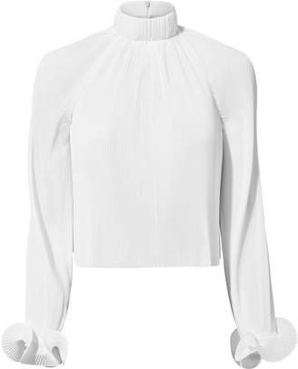 Tibi White Pleated Crop Top