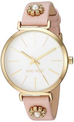 Nine West Women's NW/2202SVPK Gold-Tone and Pink Strap Watch