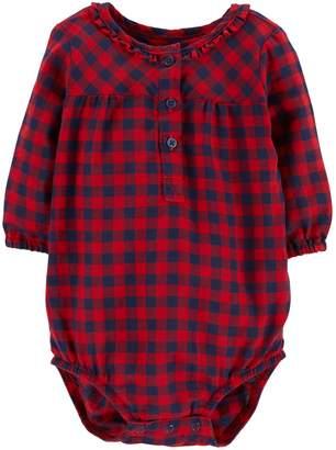 Osh Kosh Oshkosh Bgosh Baby Girl Ruffled Henley Bodysuit