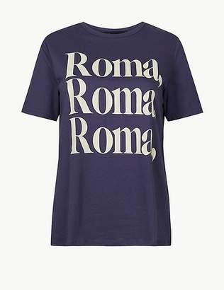 Marks and Spencer Pure Cotton Roma Straight Fit T-shirt