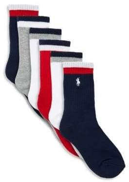 Ralph Lauren Boy's Six Pack Track Sport Crew Socks