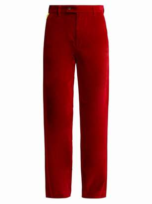 Aries Straight Leg Cotton Velvet Trousers - Womens - Red