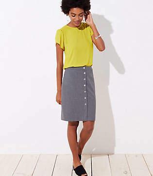 LOFT Houndstooth Buttoned Pencil Skirt