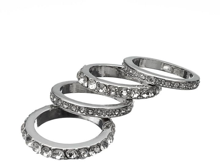 JLO by Jennifer Lopez silver tone simulated crystal stack ring set