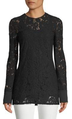 Lanvin Haut Long-Sleeve Lace Top