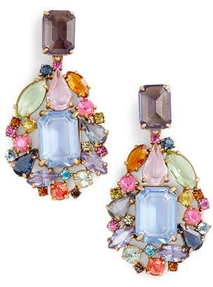 J.Crew Cluster Drop Stone Earrings