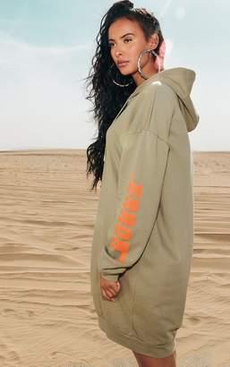 PrettyLittleThing Khaki Oversized Slogan Jumper Dress