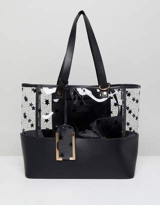 Yoki Fashion Plastic Tote with Black Stars