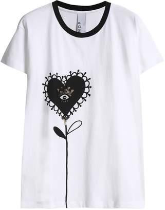 Mother of Pearl 装飾付き プリントコットンジャージー Tシャツ