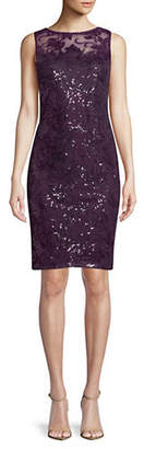 Calvin Klein Illusion Neck Lace Shift Dress