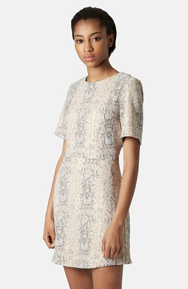 Topshop Snake Jacquard A-Line Dress