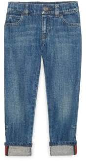 Gucci Little Boy's& Boy's Web-Trimmed Cuffed Jeans
