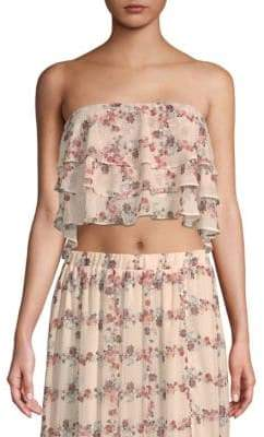 ENGLISH FACTORY Floral Strapless Cropped Top