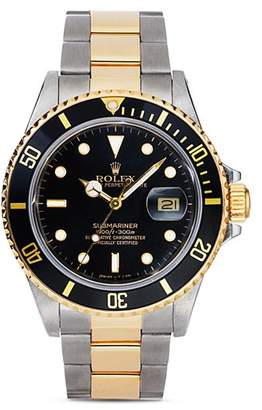 Rolex Pre-Owned Stainless Steel and 18K Yellow Gold Two Tone Submariner Watch with Black Dial, 40mm